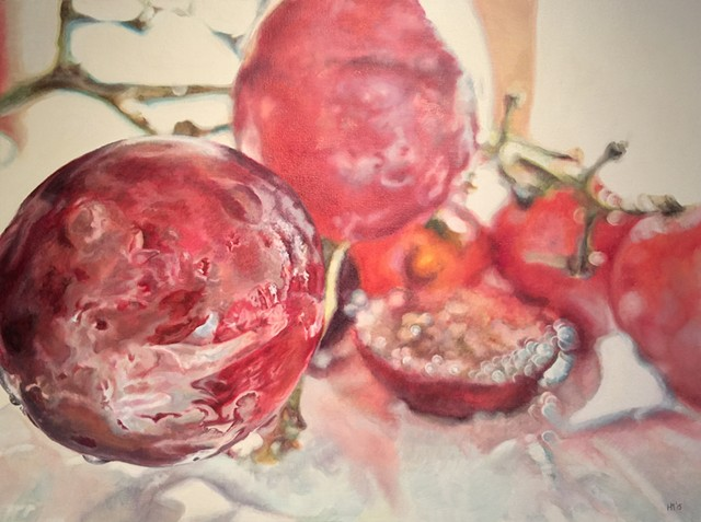 Grapes, photo realism, oil painting, fruit painting, food painting, hyper-realism