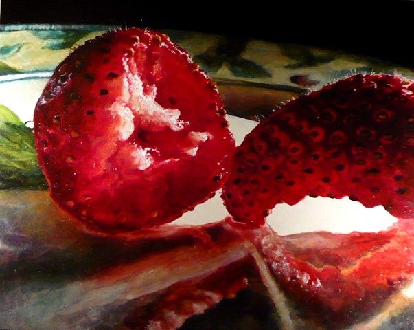 Strawberries, Still Life, Fruit Painting, Oil Painting, Photo Realism, Red Fruit
