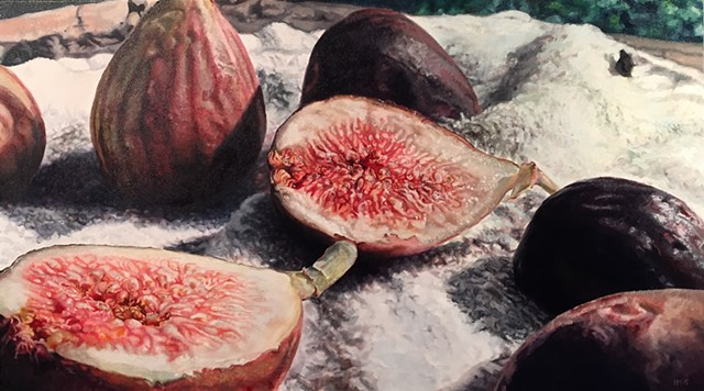 Fig Painting, Figs, Still Life, Photo Realism, Hyper-realism