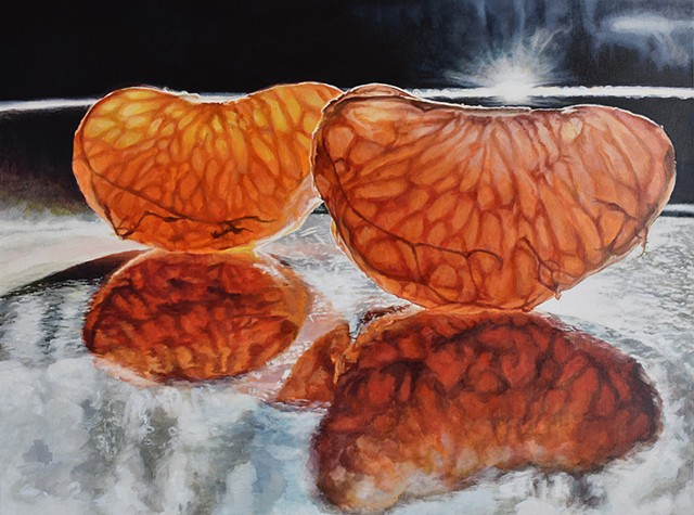 Orange Painting, photorealism, still-life, Oil Painting, Fruit Painting, hyperrealism