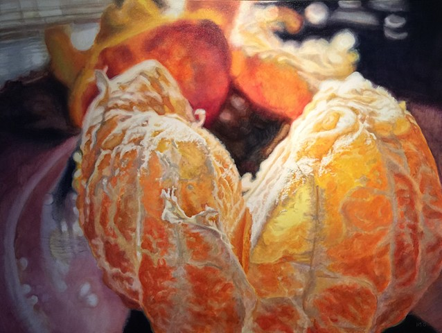 Orange, Citrus Painting, Photo realism, Still Life, Luminescent, hyper-realism