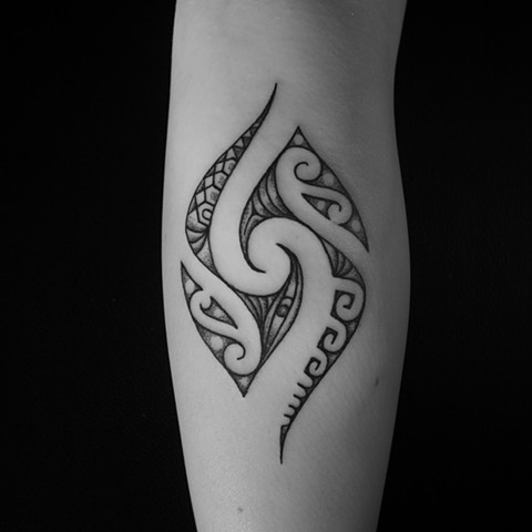 Polynesian inspired tribal with dot work shading