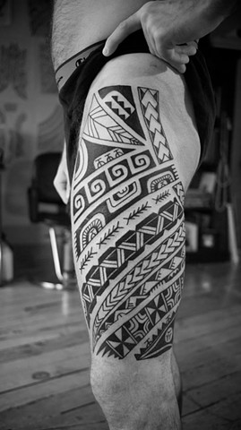 Marquesian inspired tribal thigh
