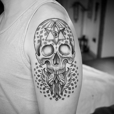Sacred geometry skull with Buddhist Dorje, shaded in dot work