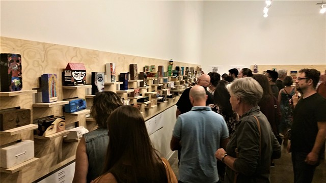 """Build Hope Not Walls"" Art opening 2017 at Big Medium."