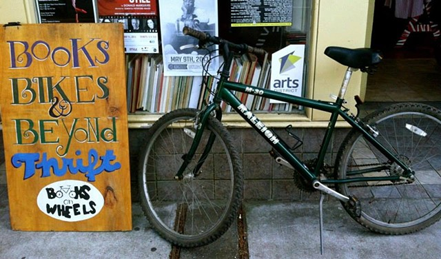 Books, Bikes, & Beyond Thrift Sandwich Board
