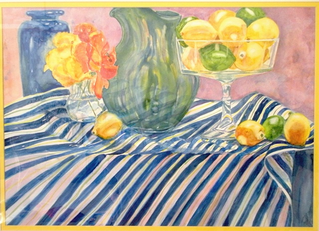 lemons & limes on blue striped cloth