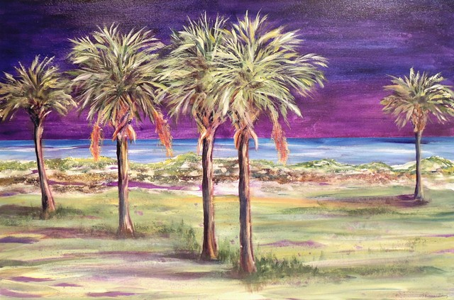 Palms against a blue/purple night sky
