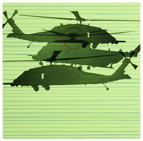 bright green background with helicopters