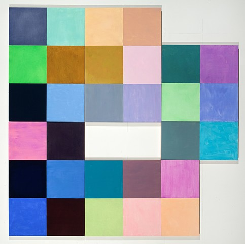 abstract colored squares in irregular composition