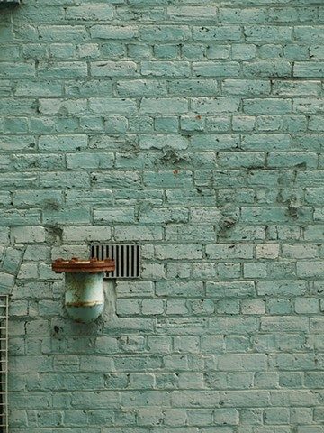 Lance Ward artist green series brick wall light fitting red globe 2011 pipe pastel colours noire noir digital print photograph clean interesting immersive