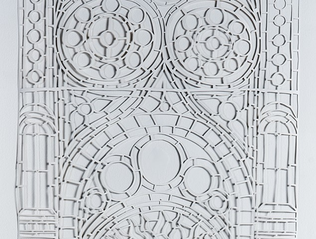 Detail - Window from Chinese Community Church  (former Assembly Presbyterian Church/Congregation Ohev Shalom/Corinthian Baptist Church)  with added and then altered Star of David