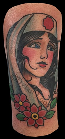 dylan loos art dloosart tattoo phoenix arizona az traditional lady nurse head