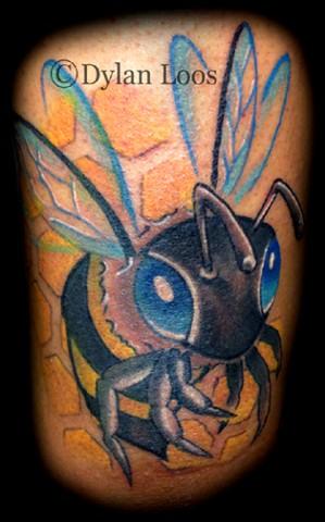 Blind Tiger Tattoo Phoenix Arizona Dylan Loos Art bee honeycomb bug