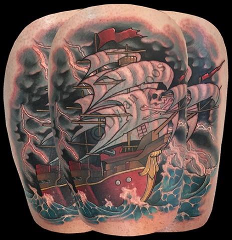 dylan loos art dloosart tattoo phoenix arizona az pirate ship color thigh ocean storm lightening