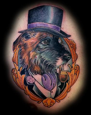 blind tiger tattoo, eric james tattoo, dog portrait, neo-traditional tattoo, arizona tattoos, phoenix tattoo