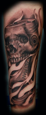 Eric james, skull tattoo, piston tattoo, hotrod tattoo, Phoenix tattoo artist, Arizona tattoo