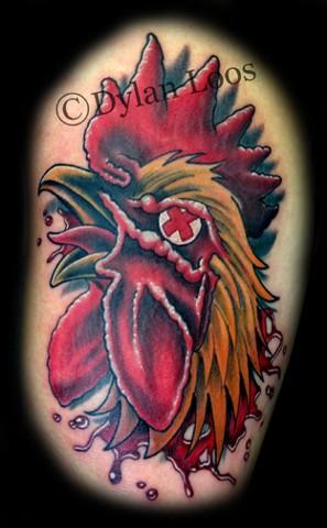 Blind Tiger Tattoo Phoenix Arizona Dylan Loos Art dead rooster cock  blood  head