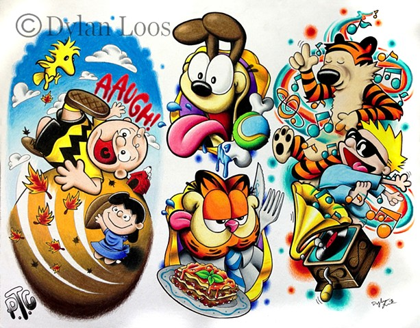 the blind tiger tattoo dylan loos art phoenix arizona comic charlie brown peanuts calvin and hobbes garfield