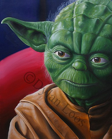 dylan loos art dloosart tattoo phoenix arizona az yoda oil painting canvas paint star wars jedi