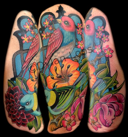 the blind tiger tattoo phoenix arizona dylan loos art bird cage color flowers