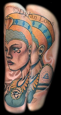 dylan loos art dloosart tattoo phoenix arizona az egyptian queen color