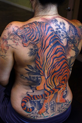 tiger tattoo, color tattoo, japanese tiger tattoo, traditional japanese tattoo, tiger back piece, the blind tiger tattoo, arizona tattoo artist, phoenix tattoo artist, best tattoo artist phoenix az