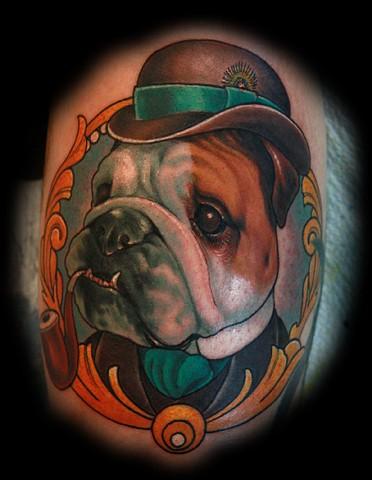 bulldog tattoo , eric james tattoo, blind tiger tattoo, phoenix arizona tattoo, color tattoo, neo-traditional tattoo