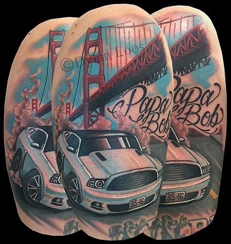 dylan loos art dloosart tattoo phoenix arizona az mustang golden gate bridge color half sleeve