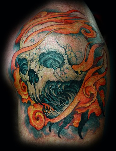 skull tattoo, black and grey tattoo, grim reaper tattoo, color tattoo, eric james tattoo, blind tiger tattoo, phoenix arizona, best tattoo artist arizona,
