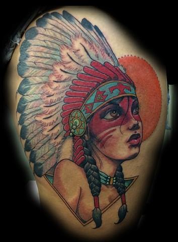indian girl tattoo, neo-traditional tattoo, blind tiger tattoo, arizona, phoenix tattoo, eric james tattoo