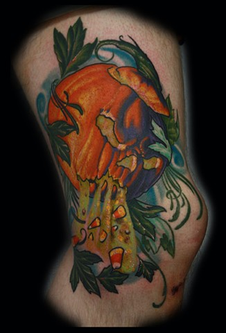jack-o-lantern tattoo pumpkin tattoo eric james tattoos phoenix arizona blind tiger tattoo