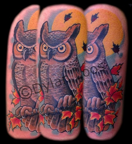 the blind tiger tattoo phoenix arizona dylan loos art horned owl color