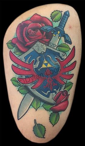 dylan loos art dloosart tattoo phoenix arizona az zelda sword shield skyward sky color thigh
