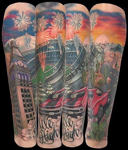 dylan loos art dloosart tattoo phoenix arizona az denver colorado cactus desert broncos color