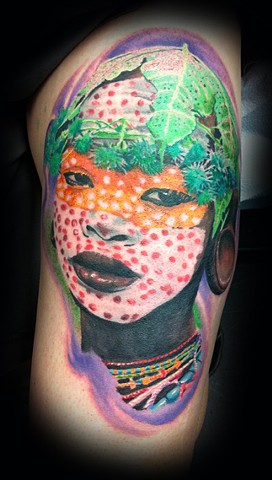 Eric james tattoo, best tattoo arizona, the blind tiger,african tattoo, tribal tattoo, color tattoo, portrait