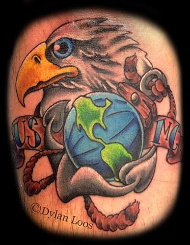 Blind Tiger Tattoo Phoenix Arizona Dylan Loos Art usmc globe and anchor bald eagle marine