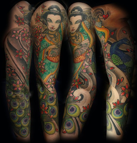 geisha tattoo peacock tattoo cherry blossoms tattoo Eric James tattoos phoenix arizona