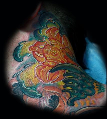 Bio mechanical tattoo, best tattoo arizona, eric james tattoo, the blind tiger, color tattoo,neck piece tattoo