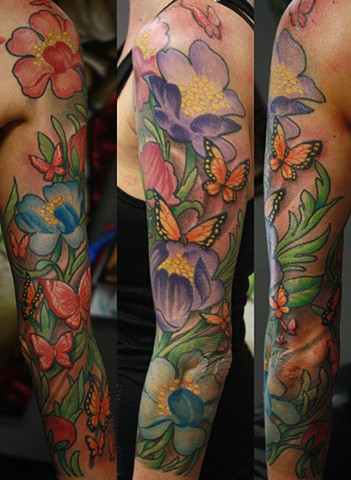 eric james tattoo, best tattoo arizona, the blind tiger, butterfly tattoo, flower tattoo, color tattoo, portrait