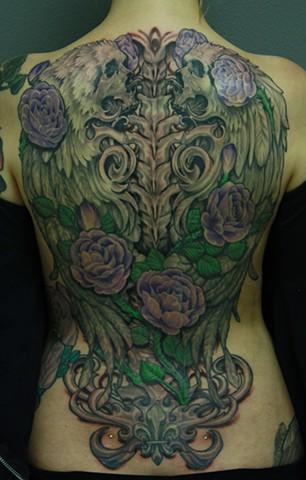 skull tattoo, black and grey tattoo, grim reaper tattoo, angels tattoo, eric james tattoo, blind tiger tattoo, phoenix arizona, best tattoo artist arizona,