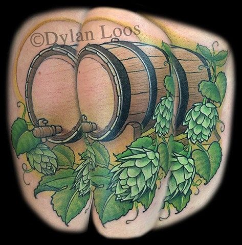 dylan loos art dloosart tattoo phoenix arizona az hops beer barrel color