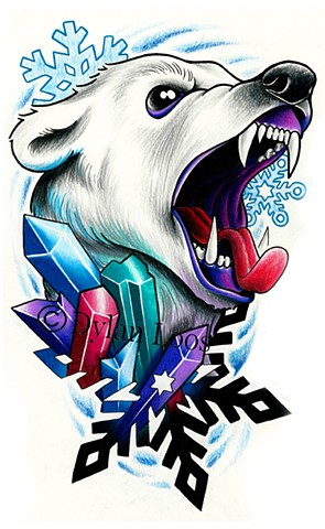 the blind tiger tattoo dylan loos art phoenix arizona polar bear arctic diamonds crystals