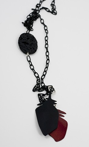Red and Black Feather with Lava Rock, Lariat