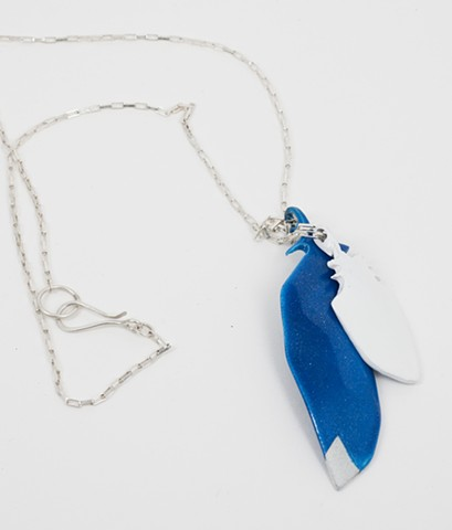 Blue and White Feather with Silver Chain
