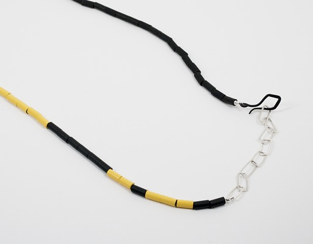 Yellow, Black and Silver Neckpiece