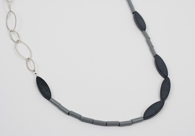 Grey, Onyx and Silver Neckpiece