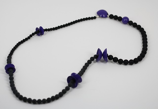 Purple Circle and Onyx Neckpiece