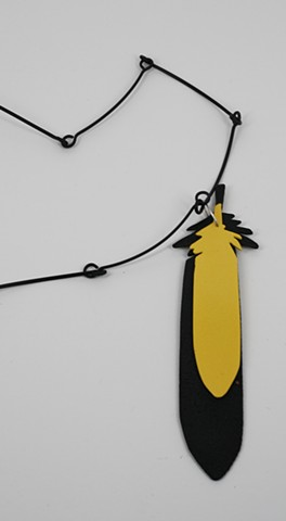 Black and Yellow Feather Long Chain