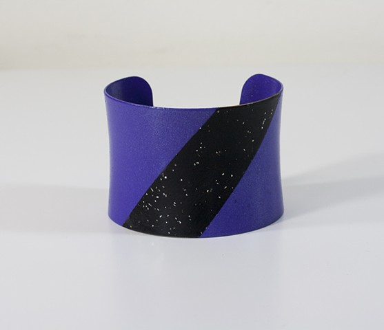 Purple and Black Glitter Cuff